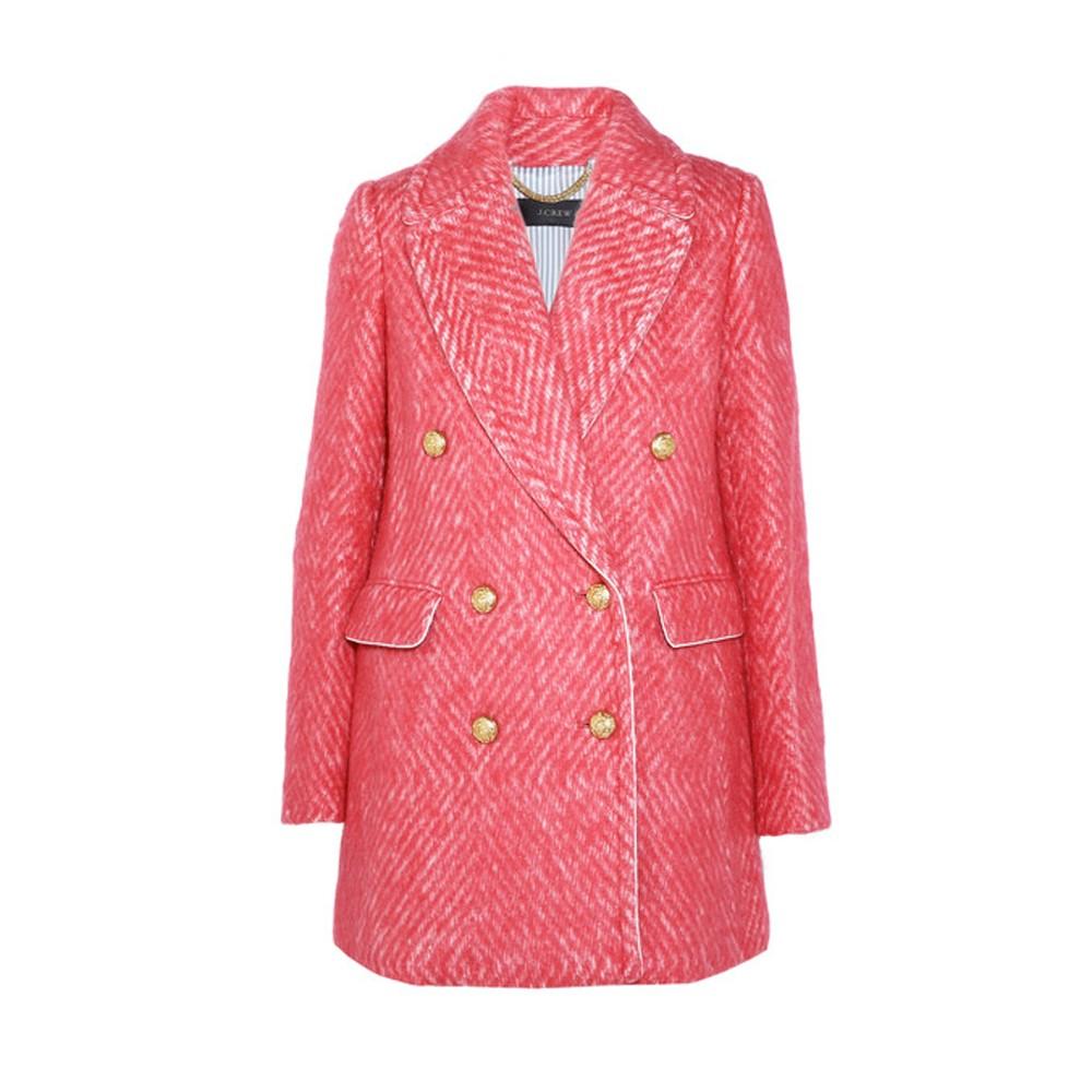 J.Crew – cappotto in tweed di lana pink con bottoni oro (euro 507)