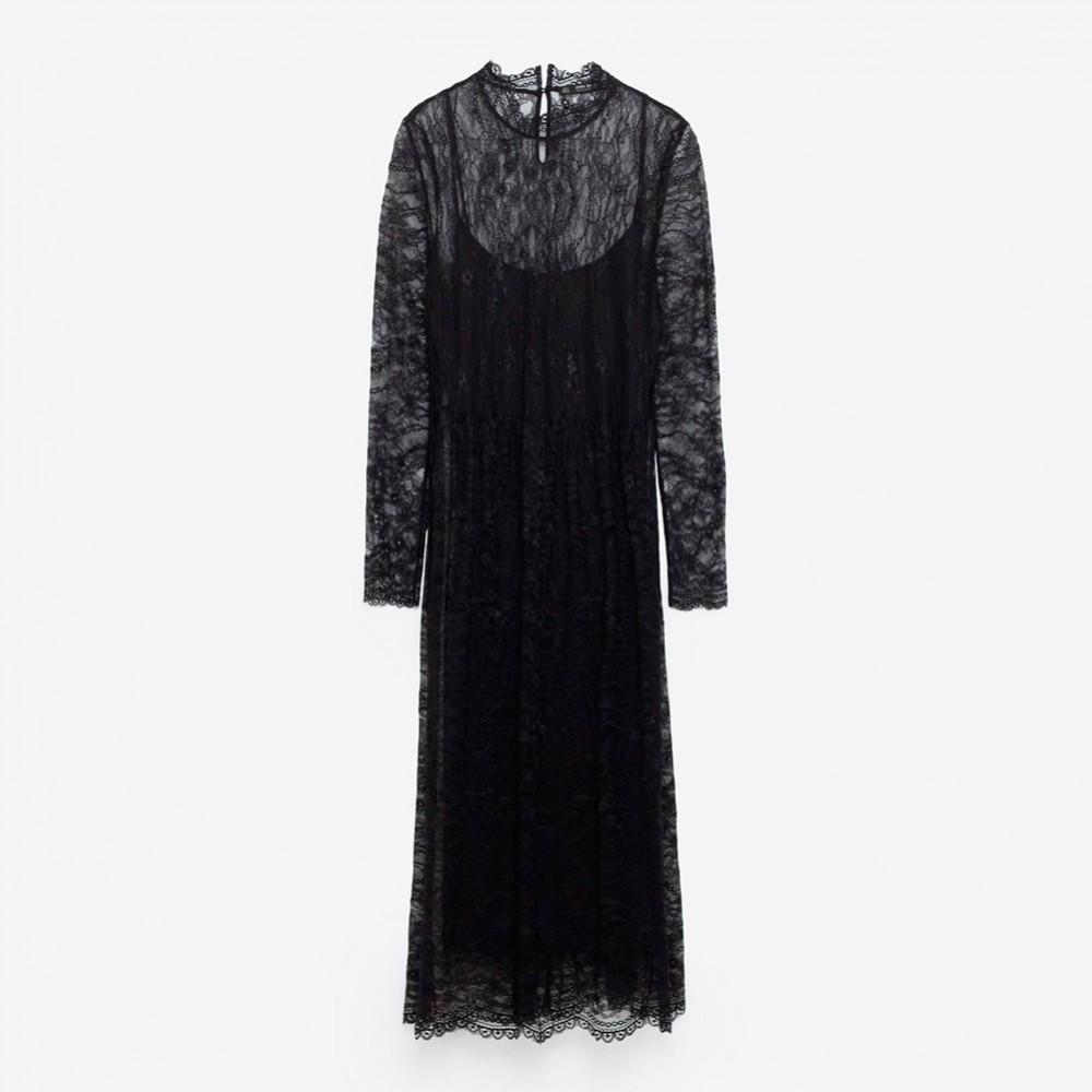 Zara – abito in pizzo nero con sottoveste nera (euro 39,95)