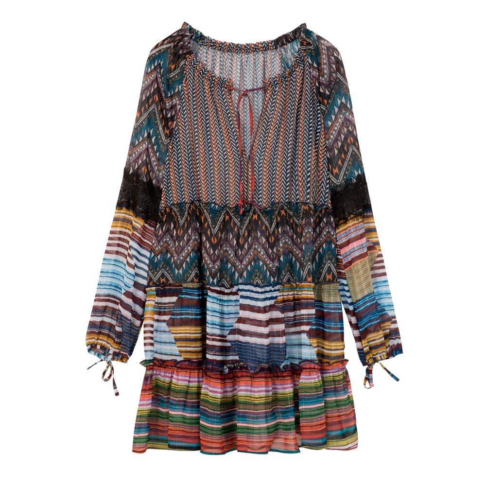 Desigual – vestito manica lunga con stampa colorata ( euro 99,95)