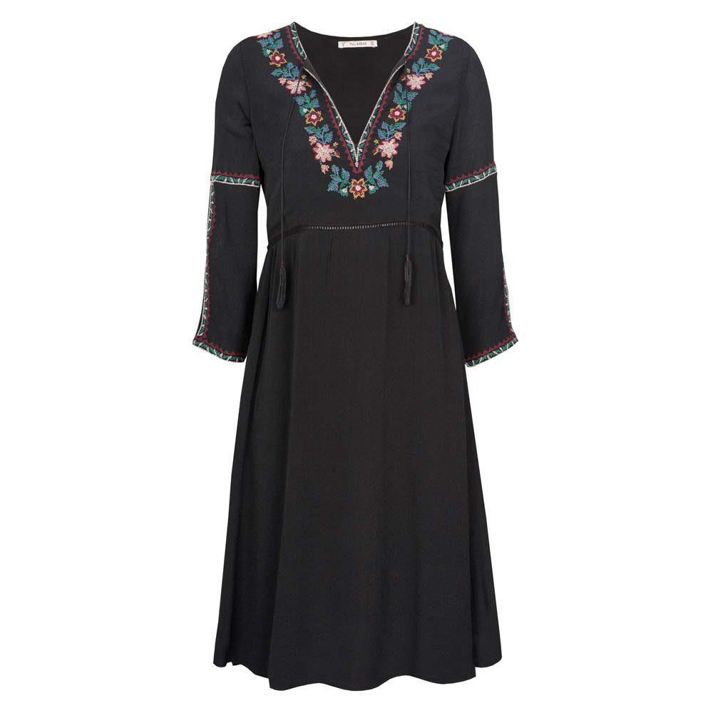 Pull&Bear – abito nero scollo a V con fiori cuciti  (euro ?)