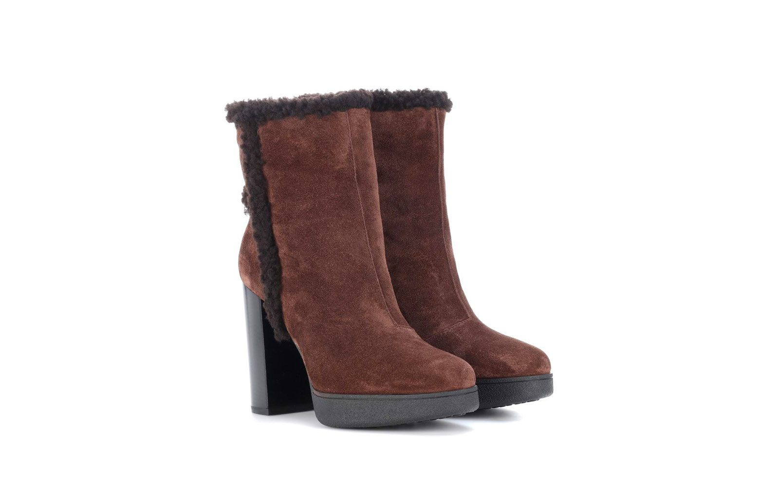 Tods – Stivaletti in suede con shearling