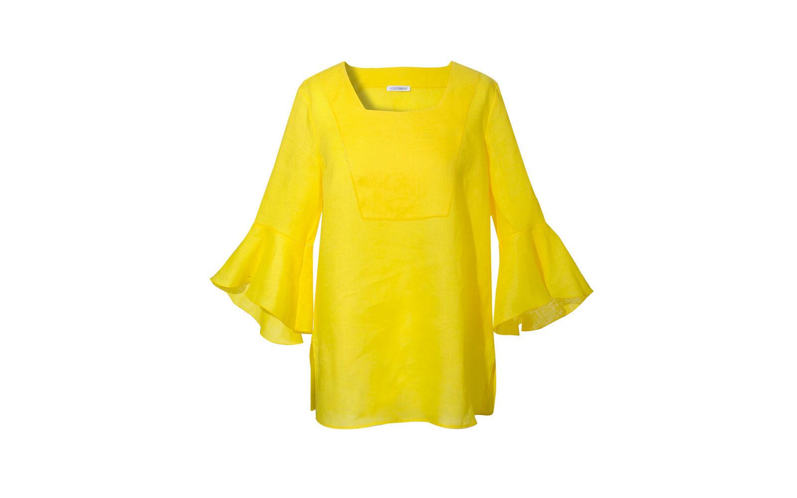 NARACAMICIE blusa in lino giallo, con maniche a forma di fiore. 79 euro       www.naracamicie.com