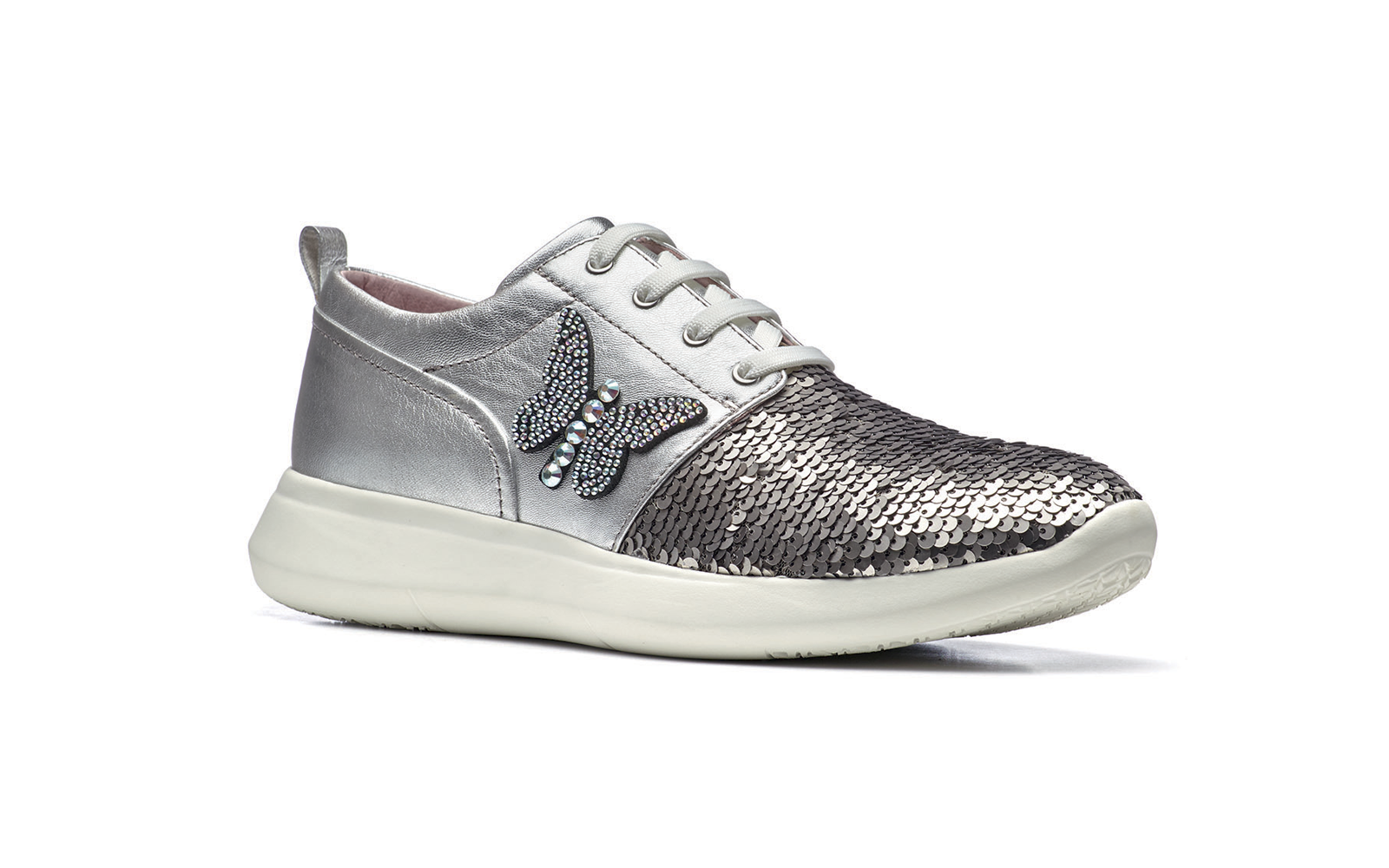STONEFLY  sneakers in pelle metalizzata e paillettes con farfalla strass su lato. Ideale per la passeggiata mattutina euro 99,90 www.stonefly.it