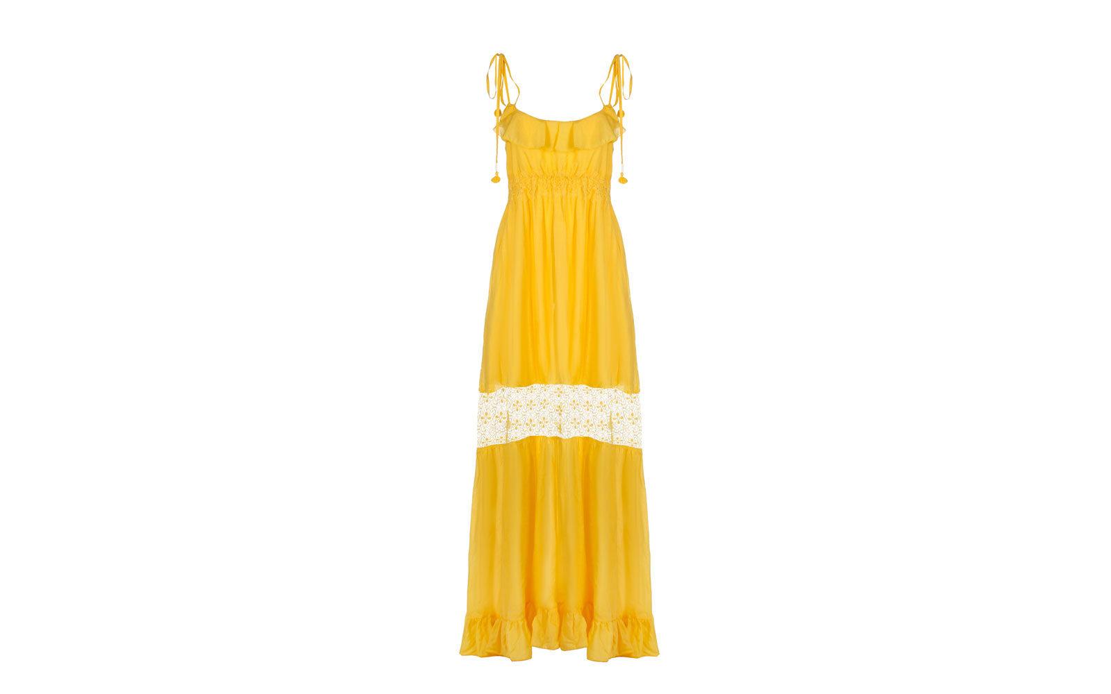 """CRISTINAEFFE abito lungo """"giallo sole"""" con inserto in pizzo. 299 euro      www.cristinaeffe.com"""