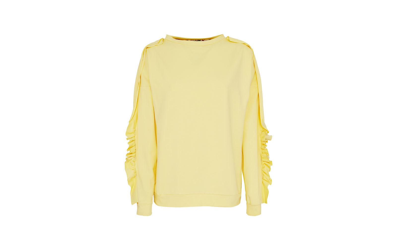 FLO'REIZA felpa in cotone giallo canarino, con ruches sulle maniche. 39,95 euro  www.floreiza.it