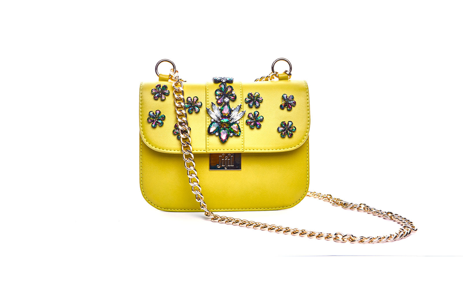 JIJILL borsa piccola in ecopelle giallo e applicazioni in strass. 189 euro      www. jijil.it