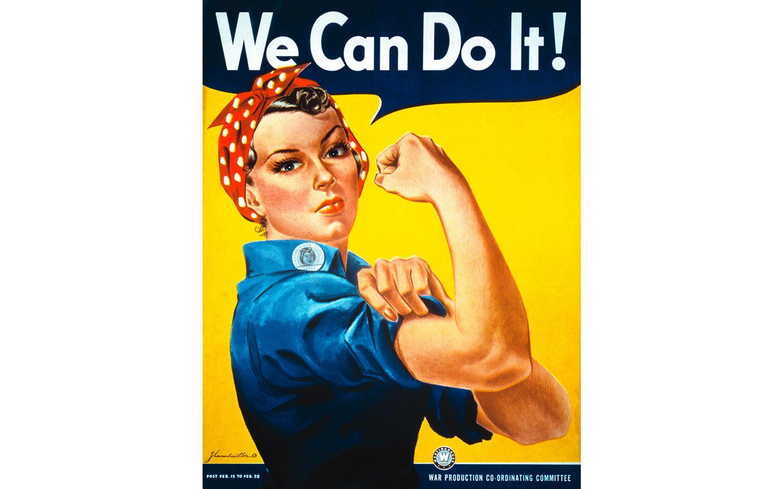 Locandina anni '40 di propaganda bellica divenuta simbolo del femminismo negli anni '80