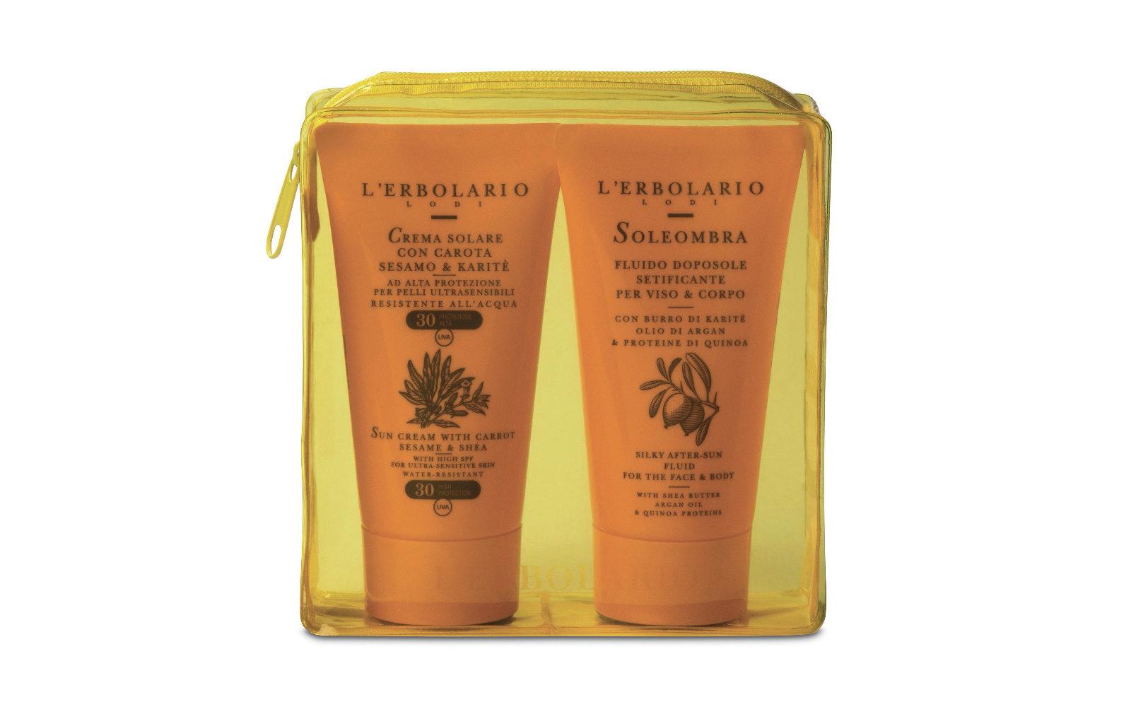 Un kit completo per abbronzarsi in sicurezza: L'Erbolario propone Crema solare con carota, sesamo e karité Spf30 e il Doposole SoleOmbra (erboristerie e negozi monomarca, 13,90 euro).