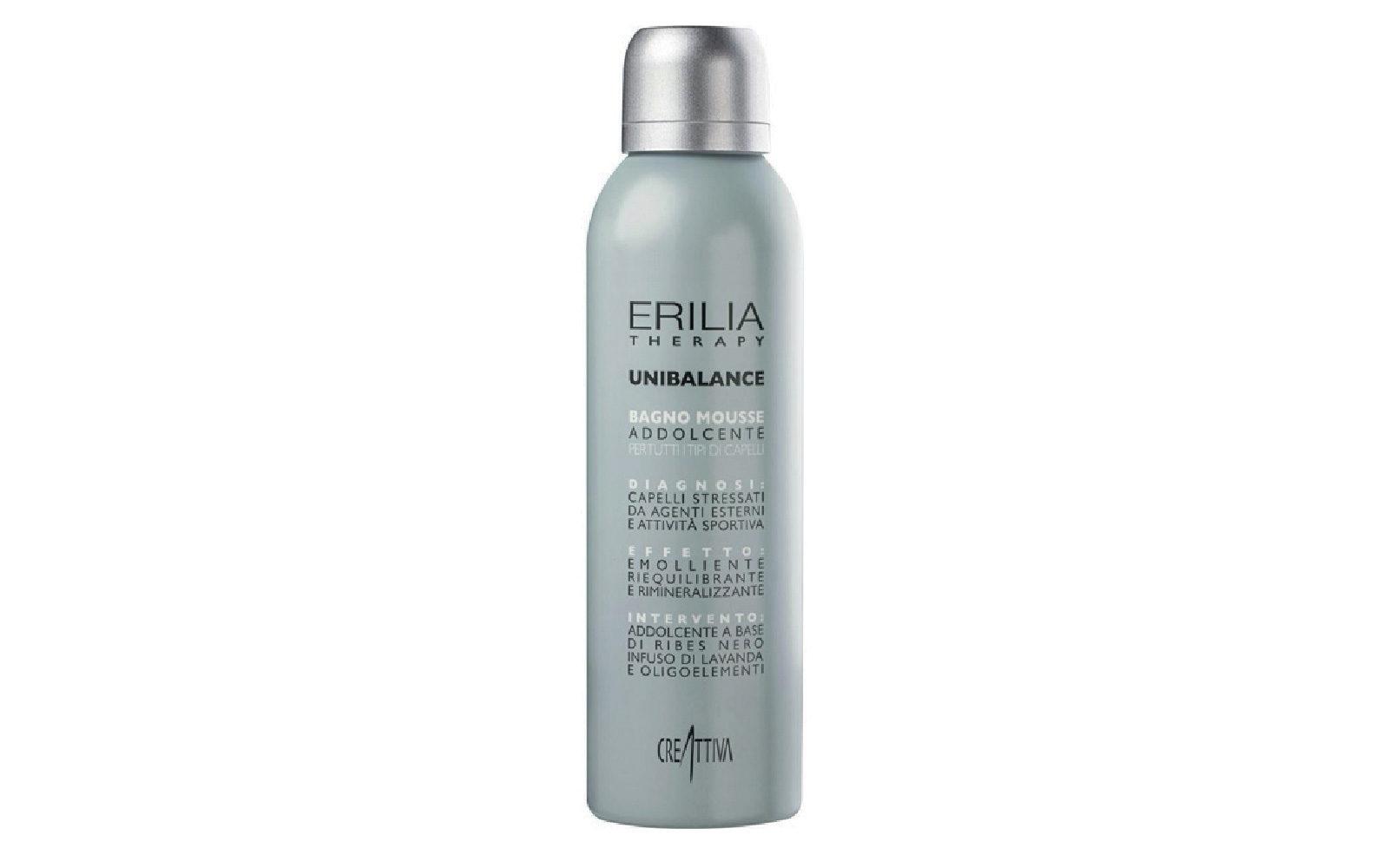 Erilia Therapy Unibalance Bagno Mousse Addolcente by Creattiva Professional è uno shampoo in mousse che contrasta gli effetti disidratanti di agenti esterni e attività sportiva (salone, 17 euro).