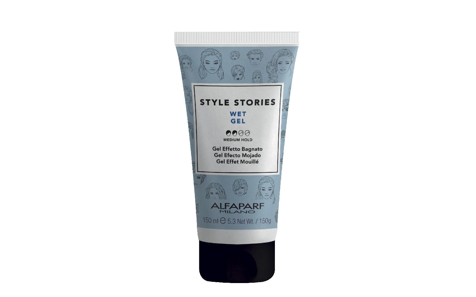 Per uno styling effetto bagnato c'è Wet Gel di Alfaparf Style Stories. Lascia i capelli flessibili e senza residui (salone, 15,90 euro).