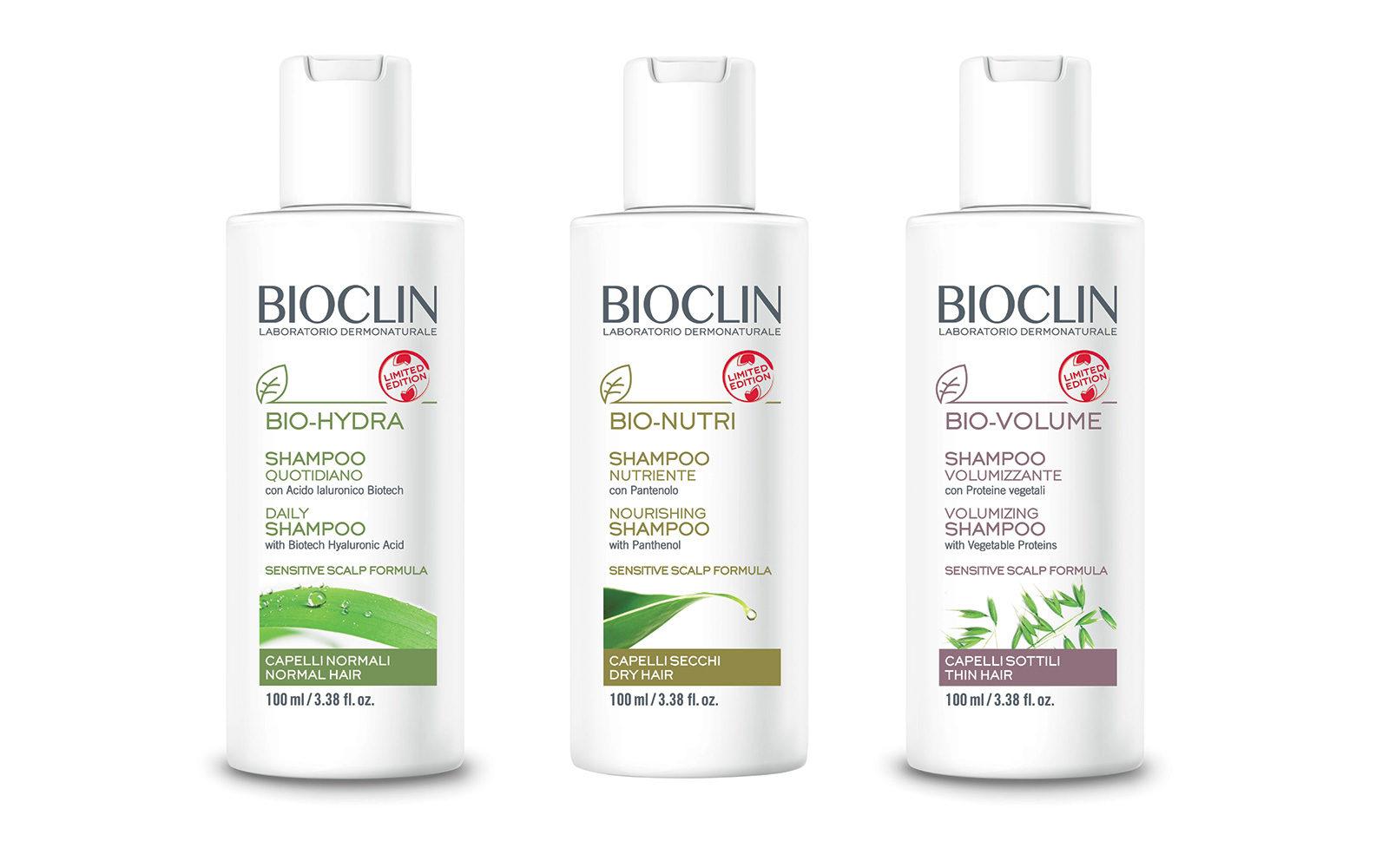 Formato travel size per lo Shampoo Bio-Nutri di Bioclin, con pantenolo (farmacia, 3,90 euro).
