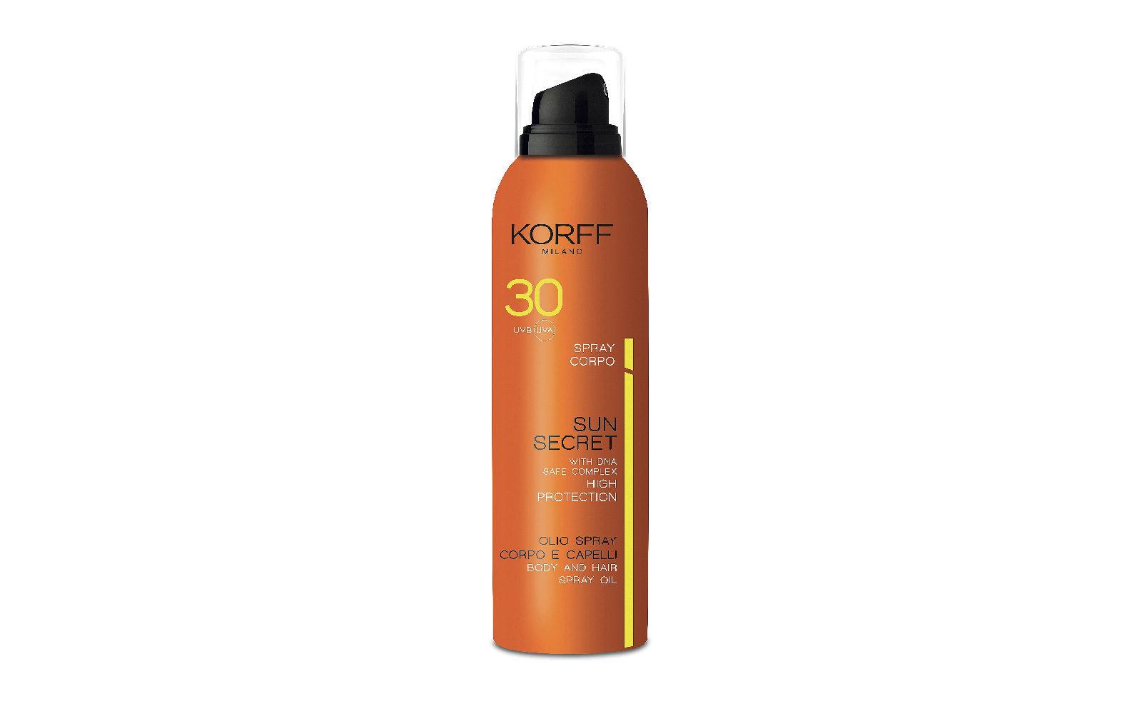 Protegge la pelle  e i capelli anche trattati, l'Olio Corpo  e Capelli Spray Spf 30 della linea Sun Secret di Korff (farmacia, 27 euro).