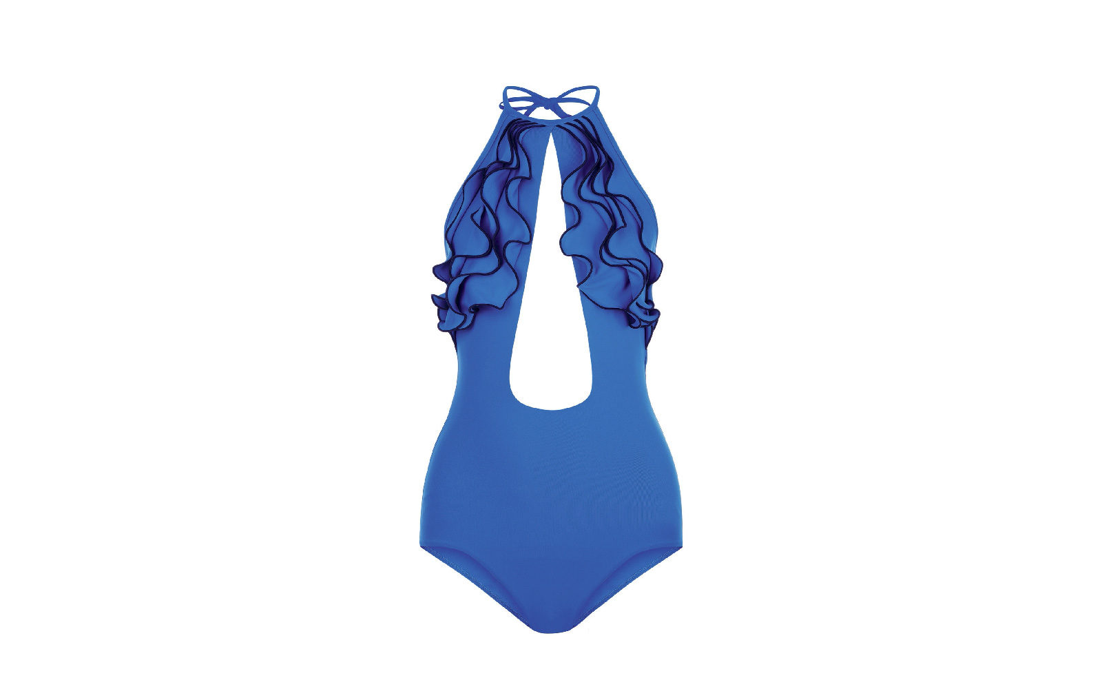 La tinta unita azzurra fa risaltare le numerose ruches a cascata sul décolleté e l'oblò centrale nel costume intero di La Perla (280 euro).