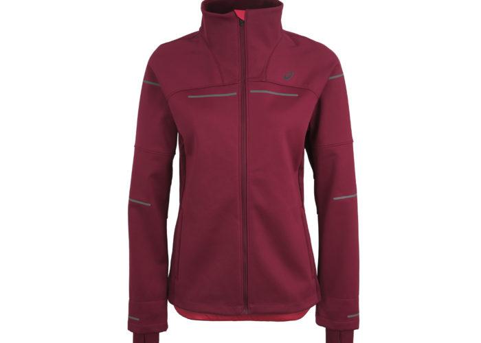 Asics Lite Show Jacket, multitasche, in materiale softshell antipioggia e antivento, con pannelli per la dispersione dell'umidità, elementi reflective invisibili sulla schiena e logo riflettente (euro 120)