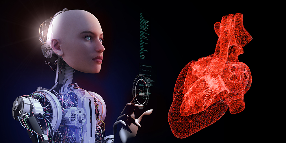 The robot doctor is examining the heart at the clinic. The future diagnosis of a heart problem. Nurse cyborg is controlling blood pressure.