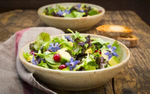 Insalata con avocado e fiori di borragine salvalinea