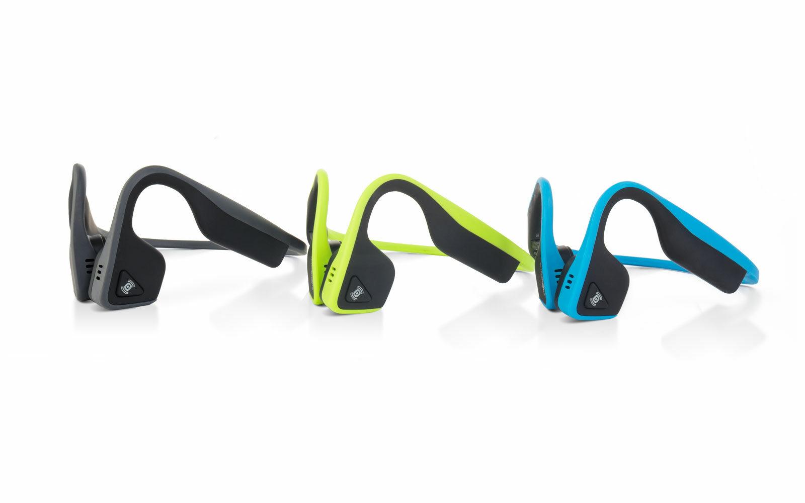 Aftershokz Trekz Titanium, cuffie wireless a conduzione ossea per sportivi, per ascoltare musica attraverso gli zigomi, lasciando le orecchie libere. Leggere, resistenti al sudore, euro 109,99