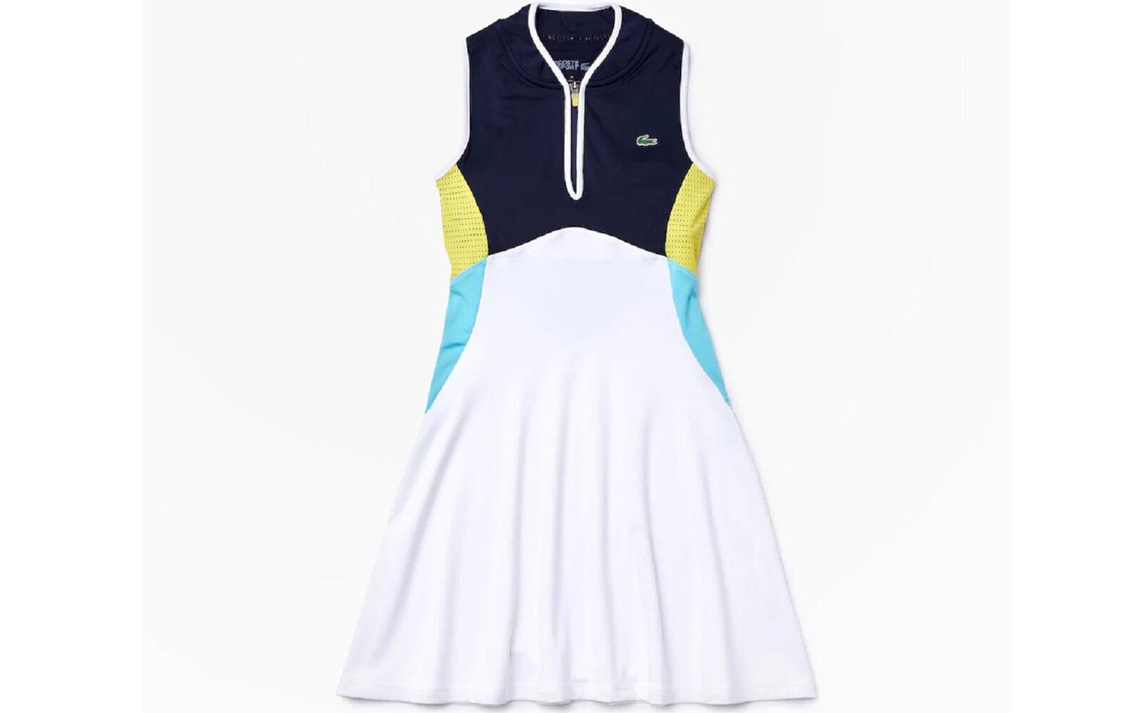 Lacoste Sport, abito in jersey elasticizzato con reggiseno sportivo integrato, traspirante, inserti in rete, collo bomber con zip. Euro 125