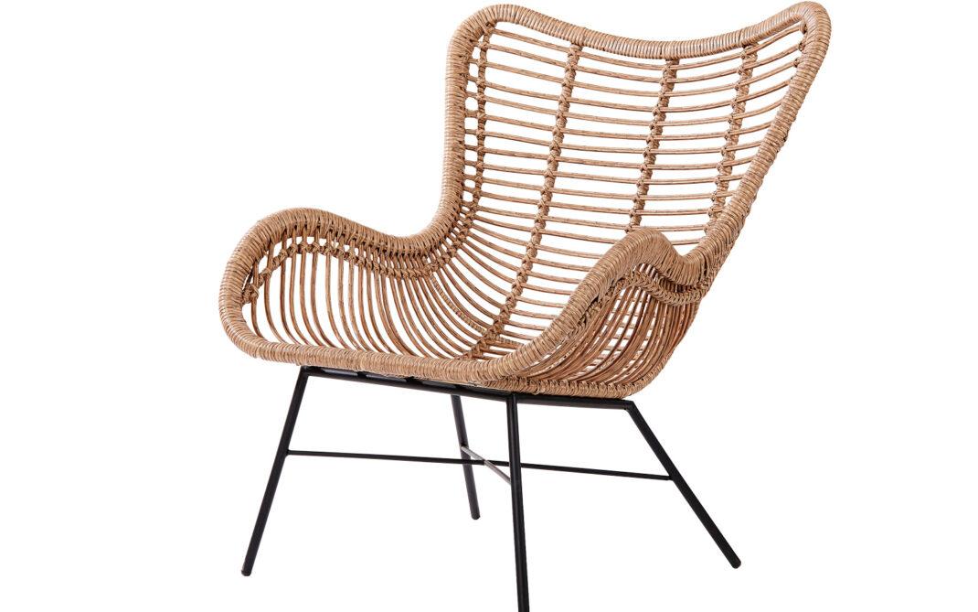 TOBAGO sedia lounge nero, naturale, H 91 x W 79 x D 71,5 cm, in acciaio e rattan sintetico, € 199