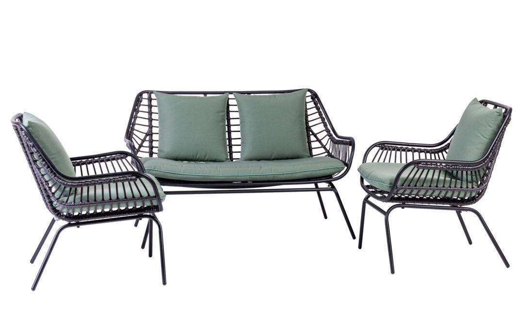 CHARLES set lounge, H.75 W.67 L.119 cm, acciaio, wicker sintetico e poliestere filato , € 599